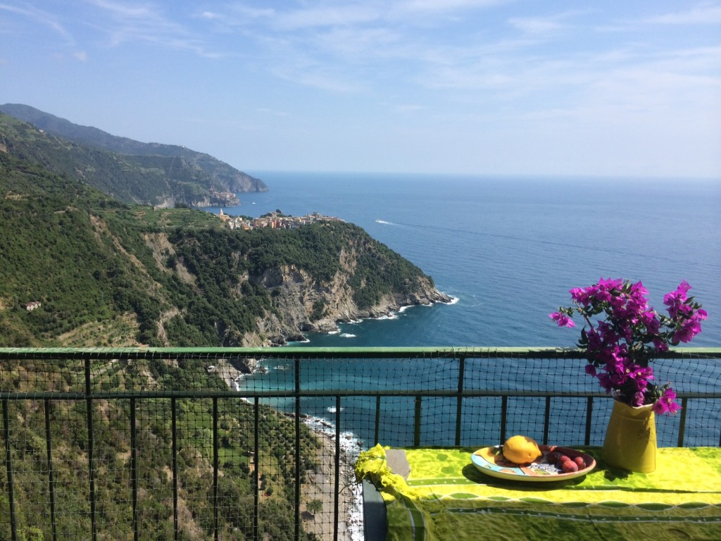The balcony of my digs in Cinque Terre, Italy - the town in the distance is Corniglia.
