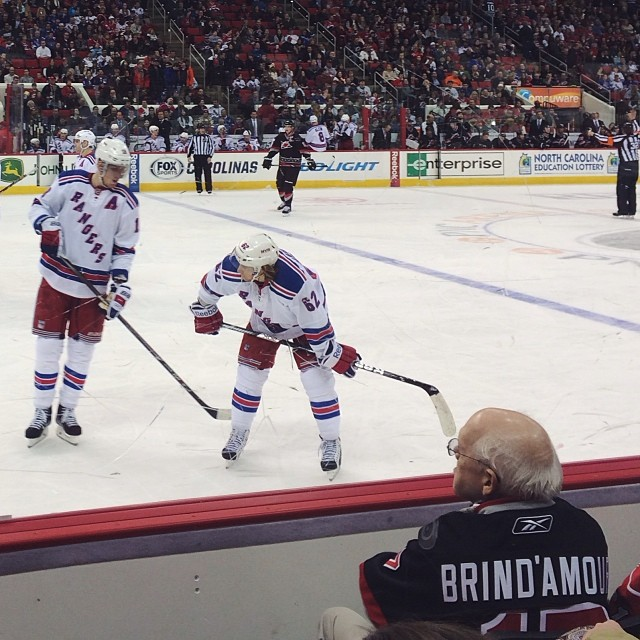March 2014: NY Rangers at Carolina Hurricanes, my first NHL game (crazy, considering my first job ever was at a rink, but there you go).