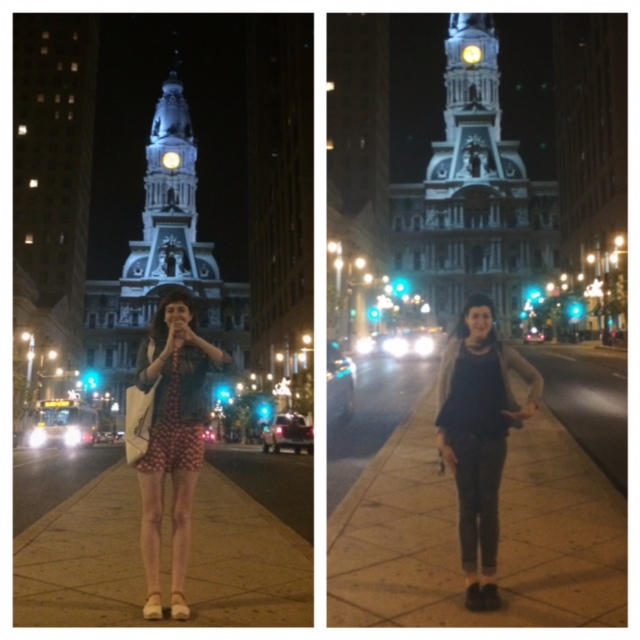 "May 2014: I visited my college roommate/ BFF Sarah in Philadelphia, and we made ""P"" symbols in front of City Hall, because Philly Pride."