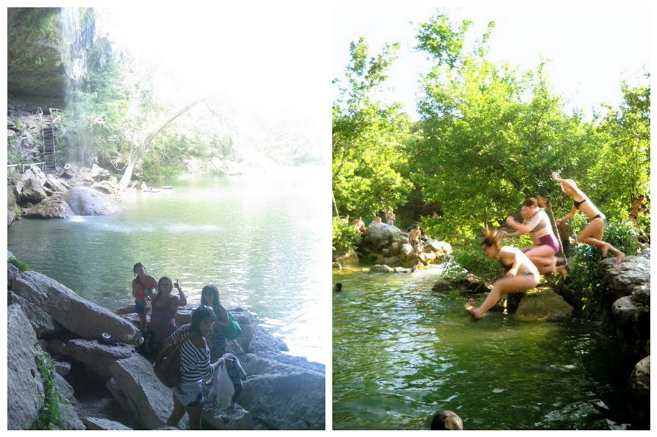 Swimming in Austin, summer 2010 - on the right, a trip to Hamilton Pool, and on the left, jumping off rocks on the Greenbelt.