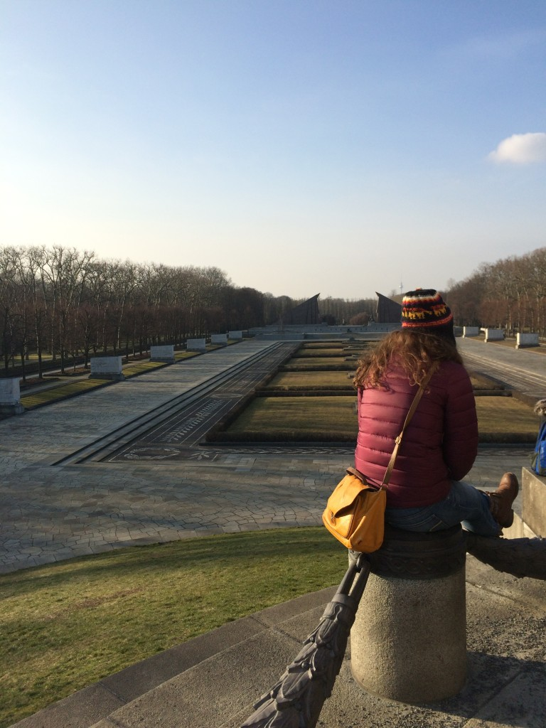 Emily takes in the scale of Treptower Park - a really massive Soviet War Memorial.
