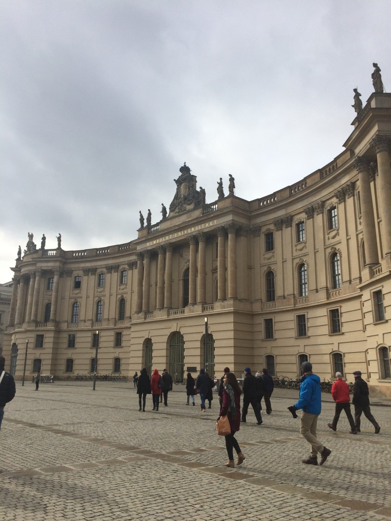 The group wanders through the Humboldt-Universität zu Berlin on our way to look at the Neue Wache.