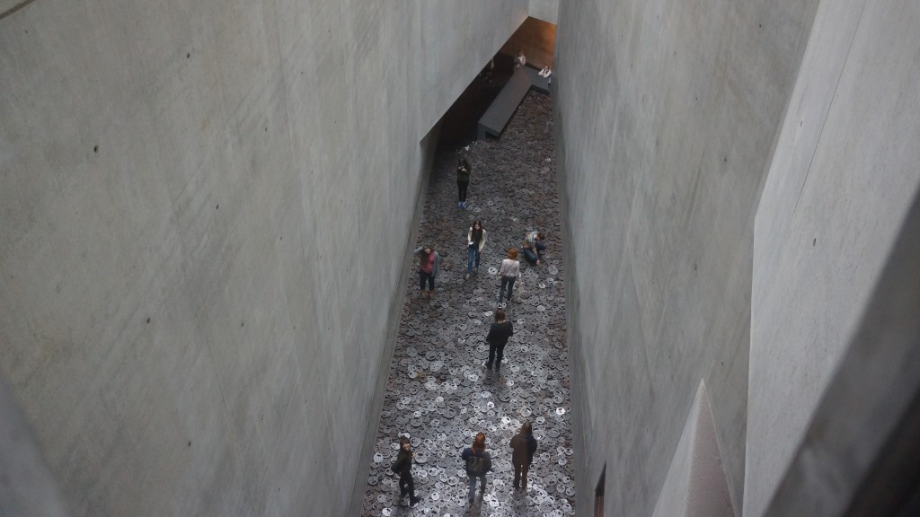 Prior to the trip, we'd had a class discussion on the Jewish Museum and it's complex and fascinating design. We talked about whether or not to walk on Menashe Kadishman installation of metal faces, whether walking or witnessing makes one more or less complicit.