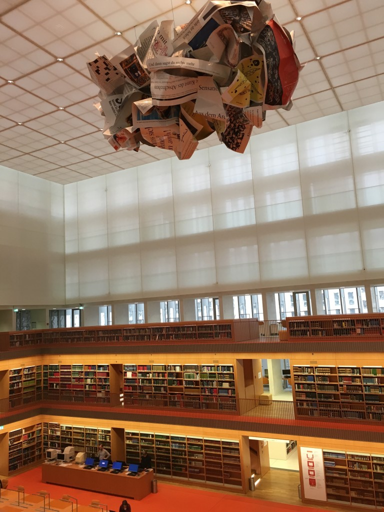 We visited the amazing Staatsbibliothek zu Berlin Haus Unter den Linden reading room, with this beautiful sculpture of gigantic newspapers. After our tour of the building, Michaela Schiebe gave us a lecture on Nazi looted books (picture by Alan Michael Parker).