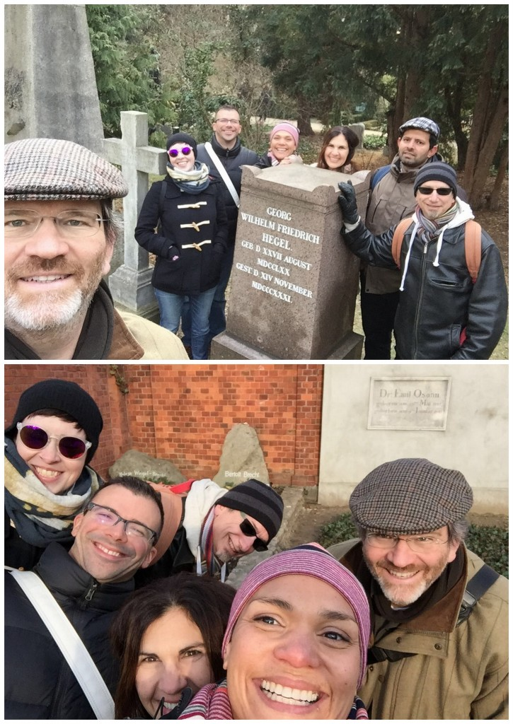 Course instructors get selfie-crazy in the Dorotheenstadt cemetery - posing with Brecht's and Hegel's graves.