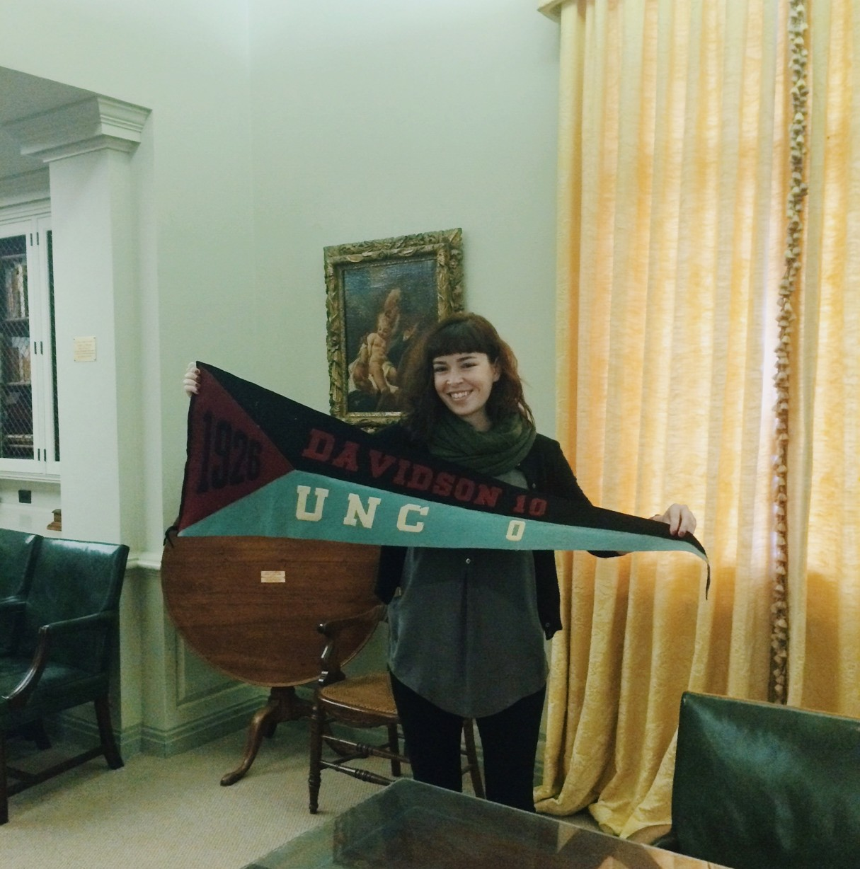 Posing with a pennant from that one time Davidson beat UNC in 1926.