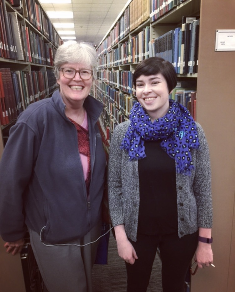 Me and Jan in the stacks of Davidson College's library in 2016.